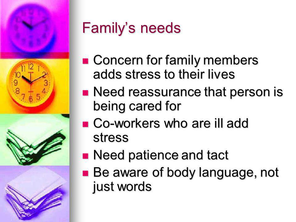 Family's needs Concern for family members adds stress to their lives Concern for family members adds stress to their lives Need reassurance that person is being cared for Need reassurance that person is being cared for Co-workers who are ill add stress Co-workers who are ill add stress Need patience and tact Need patience and tact Be aware of body language, not just words Be aware of body language, not just words