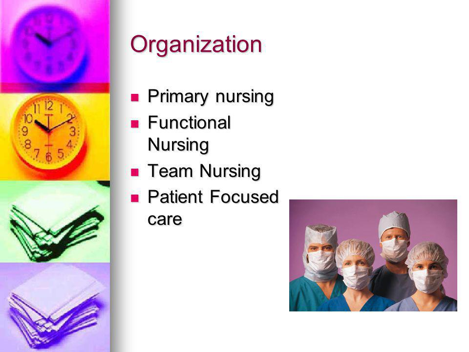Organization Primary nursing Primary nursing Functional Nursing Functional Nursing Team Nursing Team Nursing Patient Focused care Patient Focused care