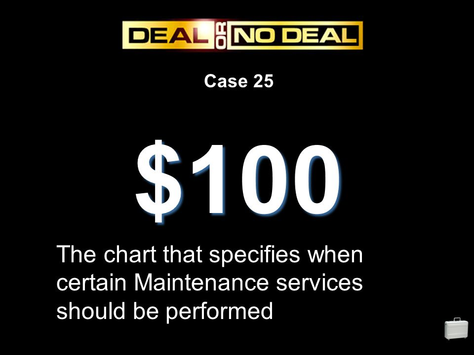 Case 25 $100 The chart that specifies when certain Maintenance services should be performed