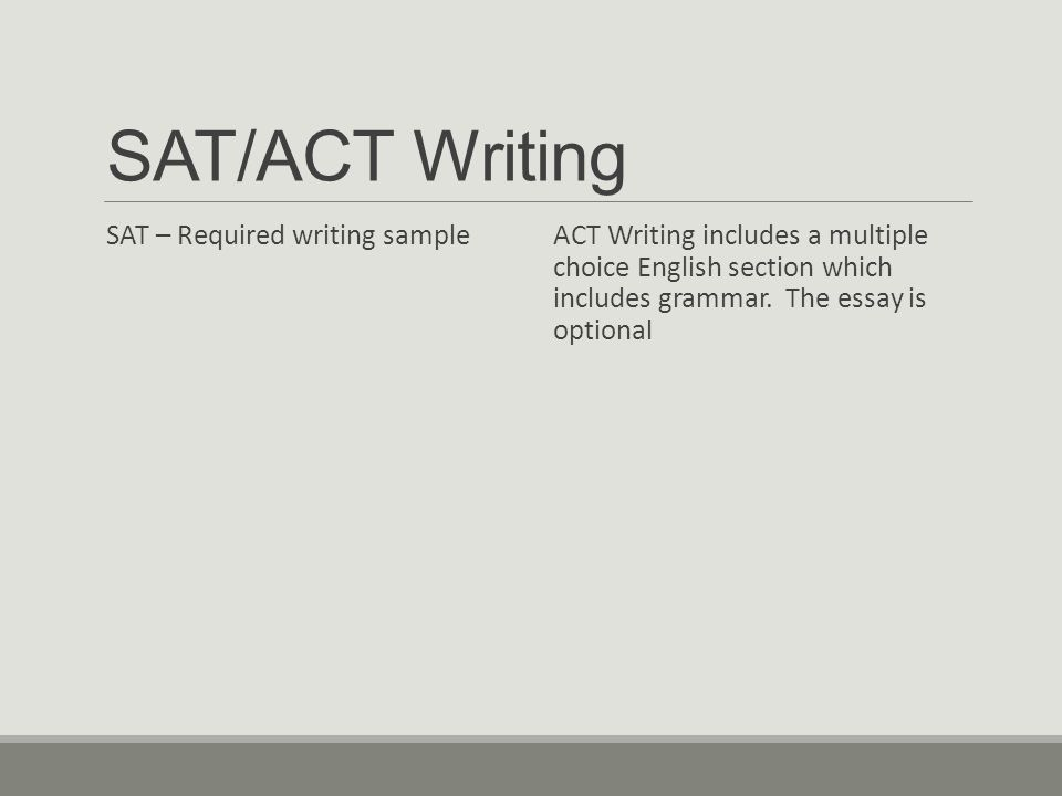 SAT/ACT Writing SAT – Required writing sample ACT Writing includes a multiple choice English section which includes grammar.