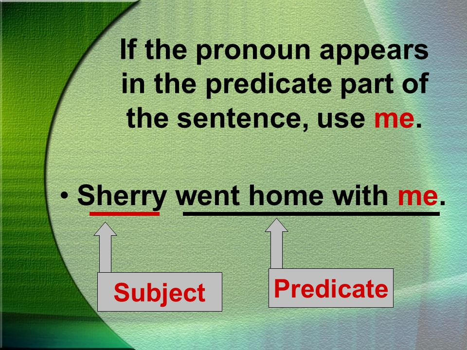 If the pronoun appears in the subject of a sentence, use I. I was late for school. PredicateSubject