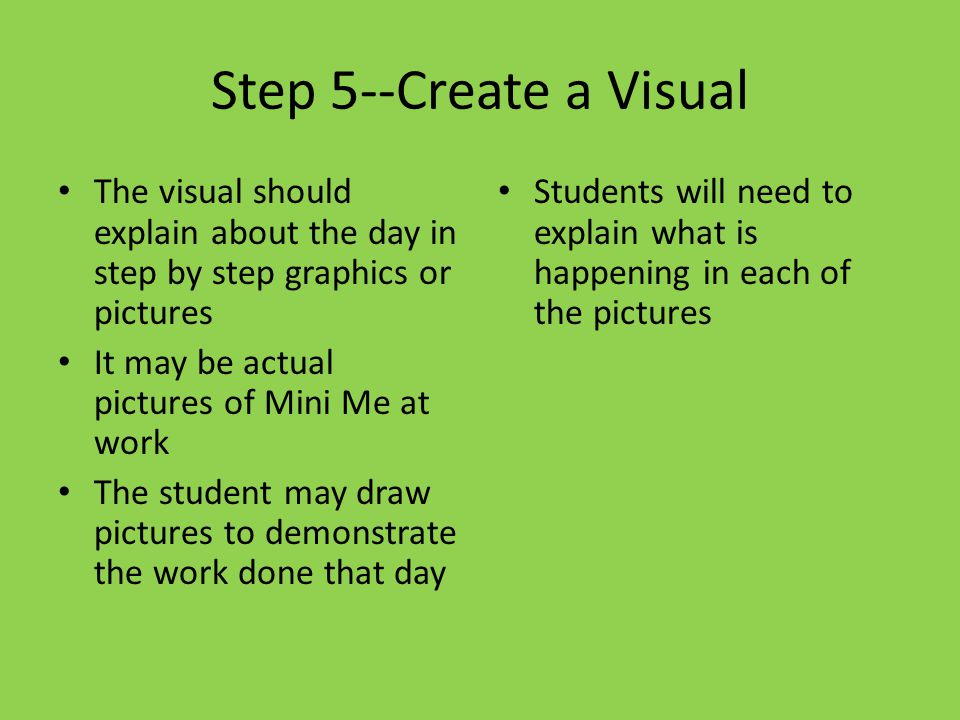 Step 5--Create a Visual The visual should explain about the day in step by step graphics or pictures It may be actual pictures of Mini Me at work The student may draw pictures to demonstrate the work done that day Students will need to explain what is happening in each of the pictures