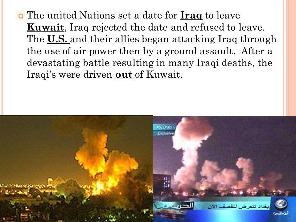  Although the war was a decisive military victory for the coalition, Kuwait and Iraq suffered enormous property damage, and Saddam Hussein was not removed from power.
