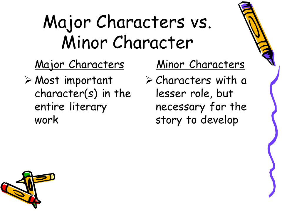 Major Characters vs. Minor Character Major Characters  Most important character(s) in the entire literary work Minor Characters  Characters with a l