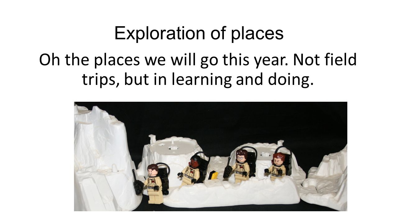 Exploration of places Oh the places we will go this year. Not field trips, but in learning and doing.