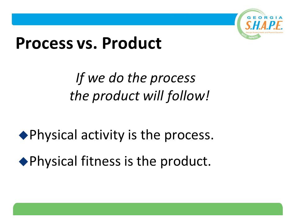 6 Process vs. Product If we do the process the product will follow.