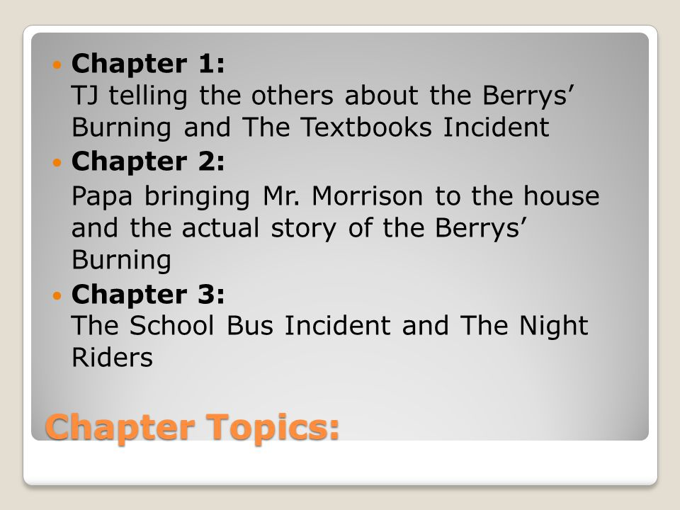 Chapter Topics: Chapter 1: TJ telling the others about the Berrys' Burning and The Textbooks Incident Chapter 2: Papa bringing Mr.