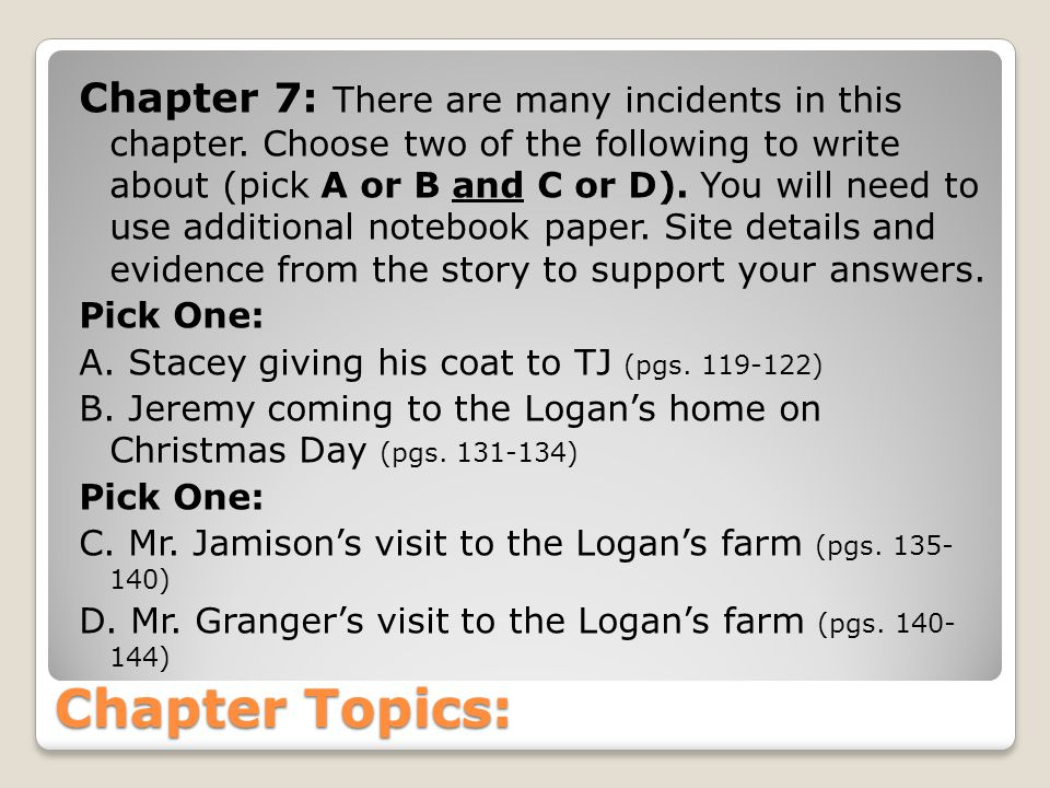 Chapter Topics: Chapter 8 Why was Cassie being so nice to Lillian Jean.