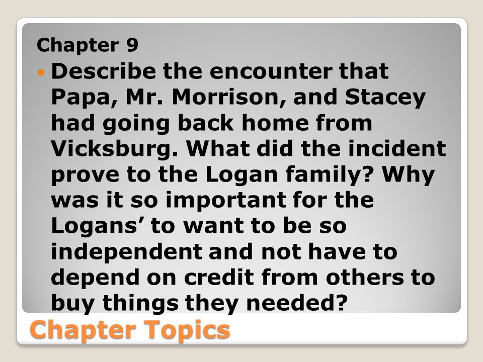Chapter Topics Chapter 10 In this Chapter the Logans have to pull together more than ever before to save their land.