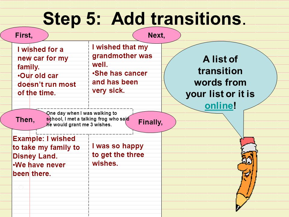 Step 5: Add transitions.I wished for a new car for my family.