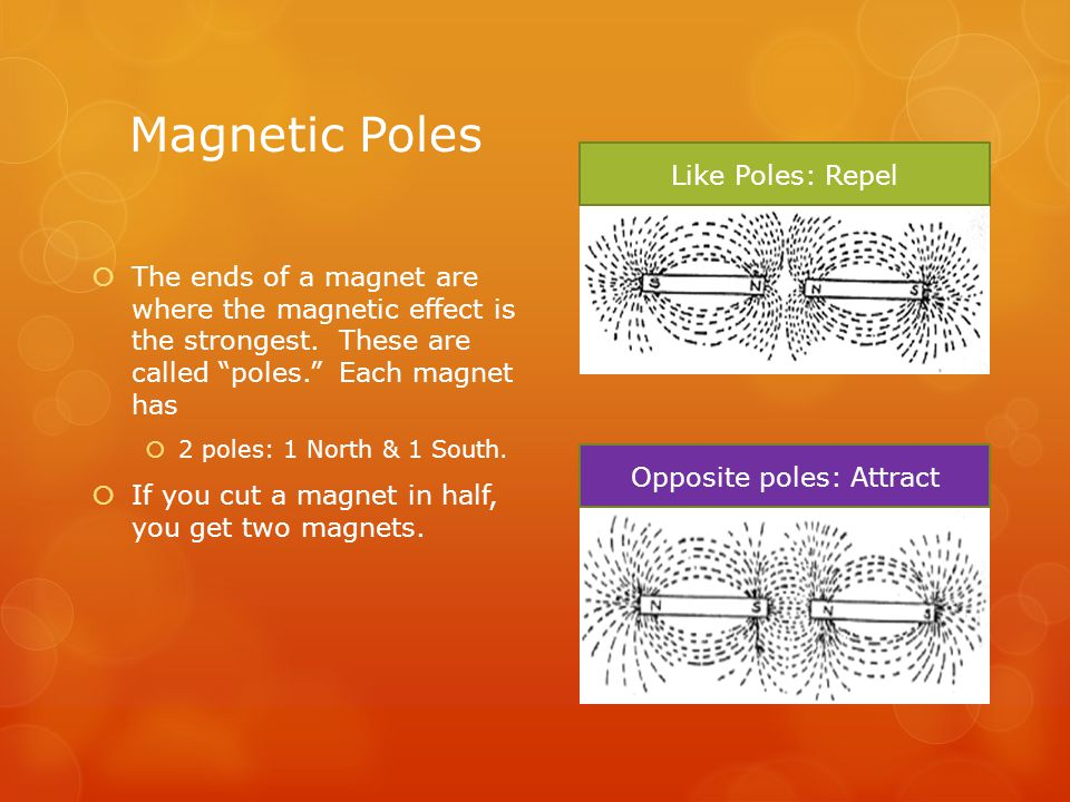 """Magnetic Poles  The ends of a magnet are where the magnetic effect is the strongest. These are called """"poles."""" Each magnet has  2 poles: 1 North & 1"""