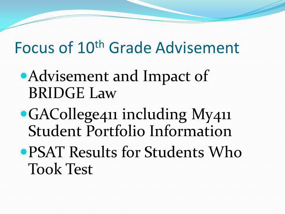 Focus of 10 th Grade Advisement Advisement and Impact of BRIDGE Law GACollege411 including My411 Student Portfolio Information PSAT Results for Studen