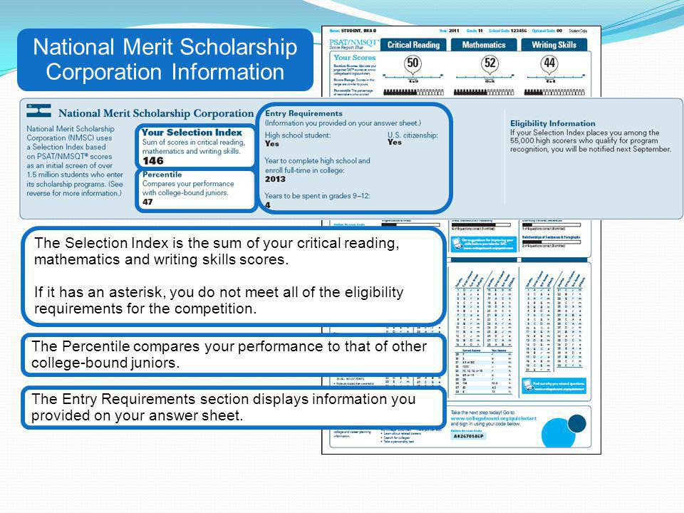 National Merit Scholarship Corporation Information The Entry Requirements section displays information you provided on your answer sheet. The Percenti