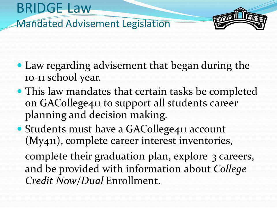 Post-secondary Plans GAcollege411.org (My411 Account is set up.) Important website with career interest inventory information College, university, and technical college information Student's individual profile Student's HOPE GPA information Student's career interest inventory information Student's high school graduation planning process…BRIDGE Graduation Plan Student's career planning and decision making Student's post secondary/college planning process
