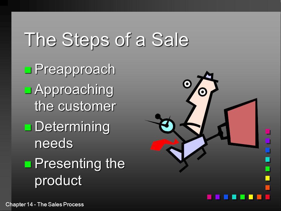 Chapter 14 - The Sales Process The Steps of a Sale n Preapproach n Approaching the customer n Determining needs n Presenting the product