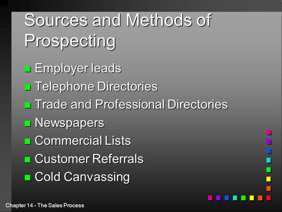 Chapter 14 - The Sales Process Sources and Methods of Prospecting n Employer leads n Telephone Directories n Trade and Professional Directories n Newspapers n Commercial Lists n Customer Referrals n Cold Canvassing
