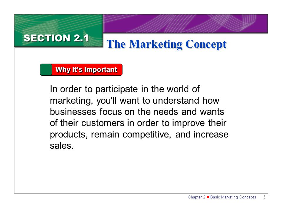 Chapter 2 Basic Marketing Concepts 3 SECTION 2.1 The Marketing Concept Why It's Important In order to participate in the world of marketing, you ' ll