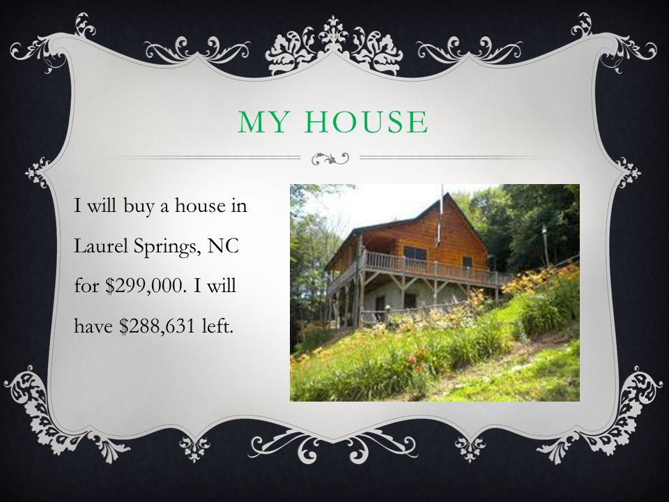MY HOUSE I will buy a house in Laurel Springs, NC for $299,000. I will have $288,631 left.