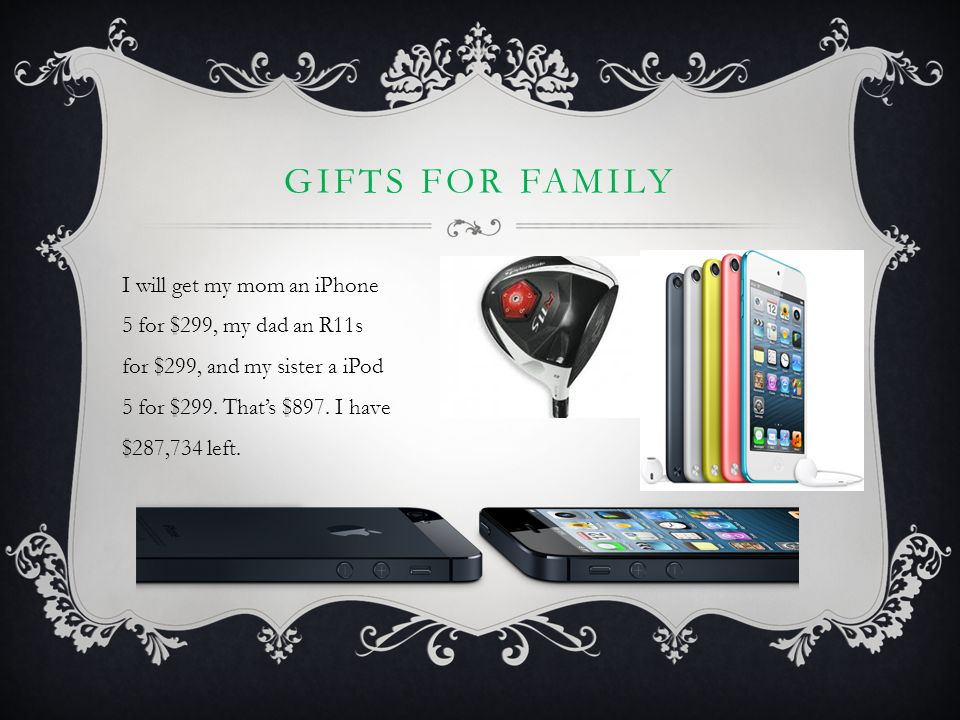 GIFTS FOR FAMILY I will get my mom an iPhone 5 for $299, my dad an R11s for $299, and my sister a iPod 5 for $299. That's $897. I have $287,734 left.