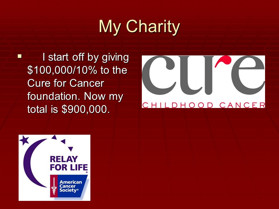 My Charity  I start off by giving $100,000/10% to the Cure for Cancer foundation.