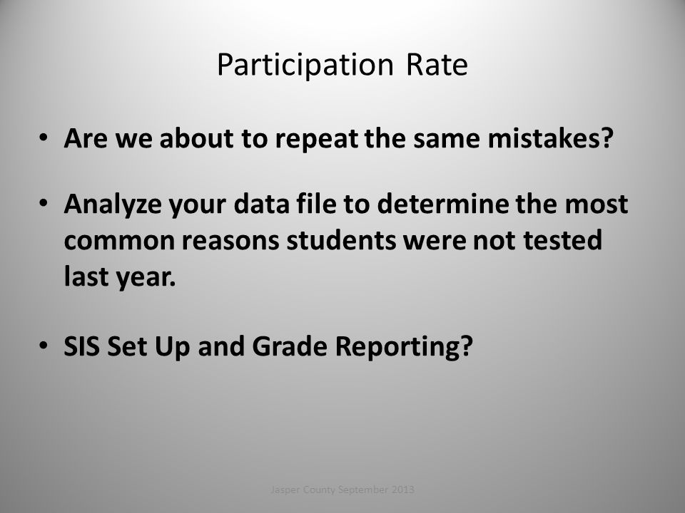 Participation Rate Are we about to repeat the same mistakes.