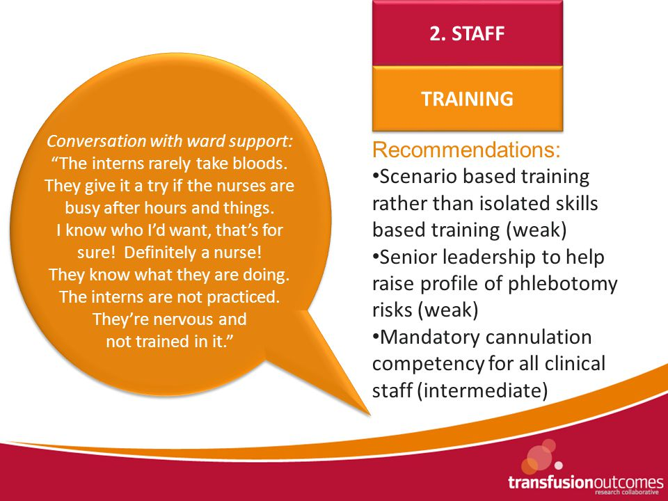 Recommendations: Scenario based training rather than isolated skills based training (weak) Senior leadership to help raise profile of phlebotomy risks (weak) Mandatory cannulation competency for all clinical staff (intermediate) 2.