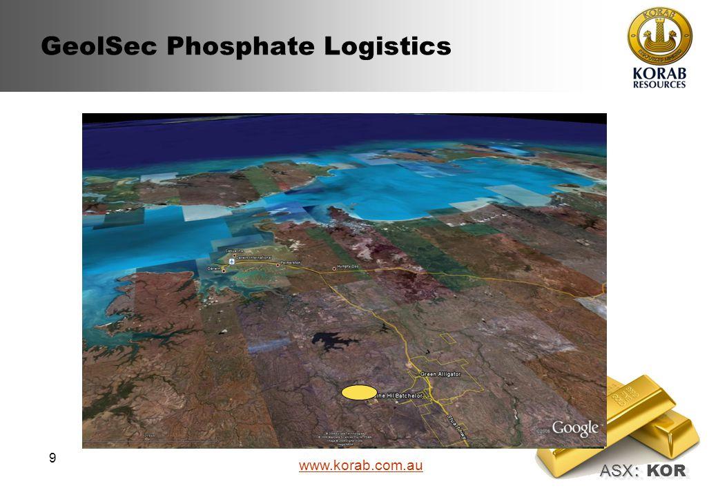 ASX : ASX : KOR www.korab.com.au 9 GeolSec Phosphate Logistics