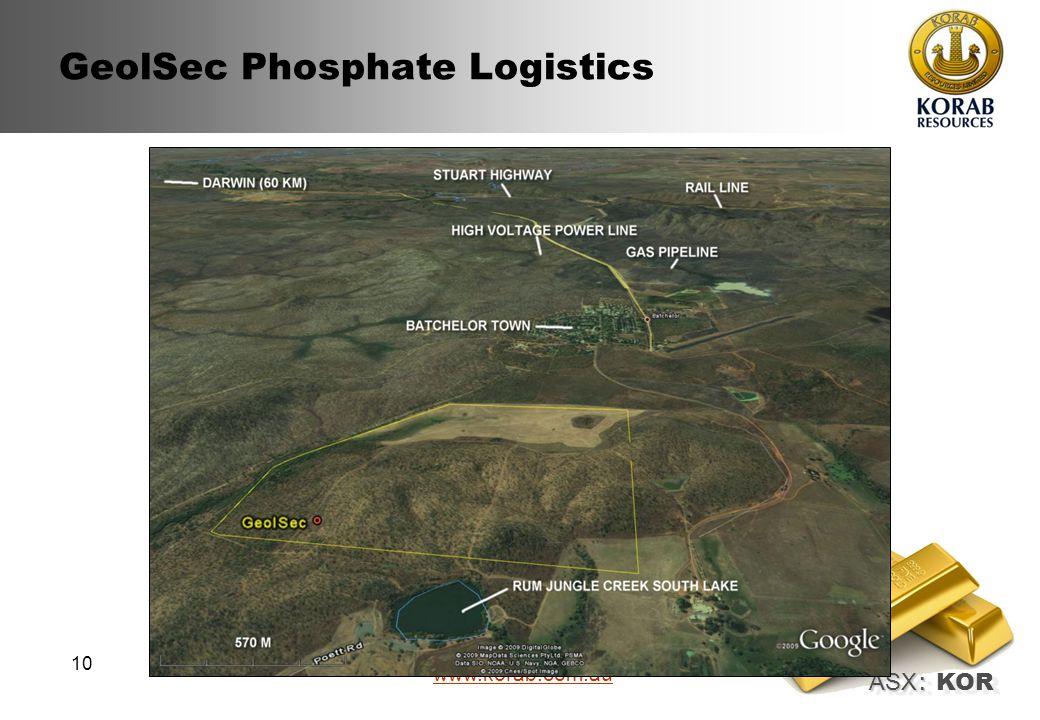 ASX : ASX : KOR www.korab.com.au 10 GeolSec Phosphate Logistics