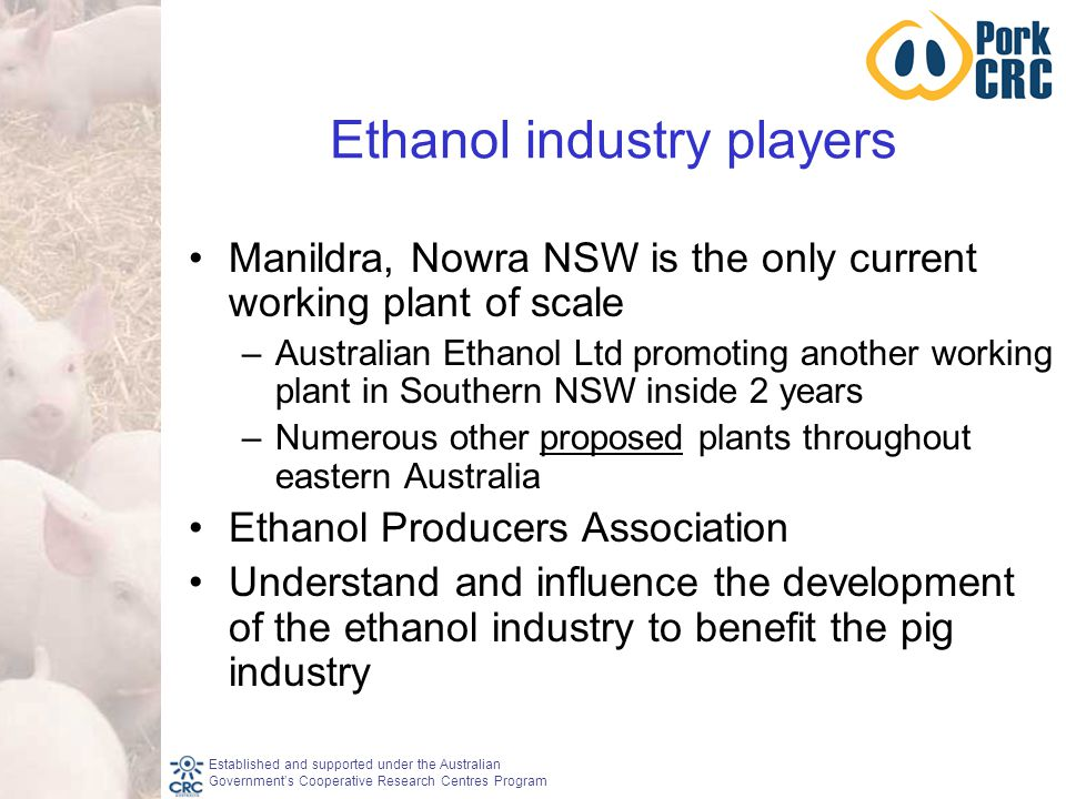 Established and supported under the Australian Government's Cooperative Research Centres Program Ethanol industry players Manildra, Nowra NSW is the only current working plant of scale –Australian Ethanol Ltd promoting another working plant in Southern NSW inside 2 years –Numerous other proposed plants throughout eastern Australia Ethanol Producers Association Understand and influence the development of the ethanol industry to benefit the pig industry