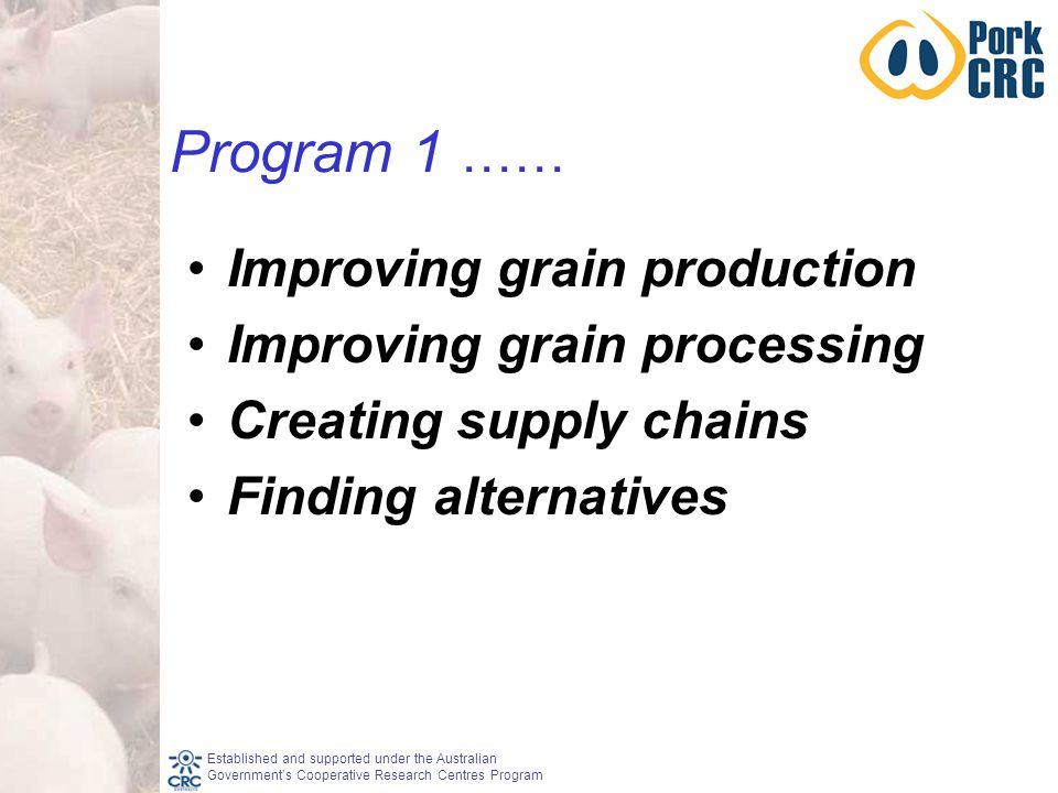 Established and supported under the Australian Government's Cooperative Research Centres Program Program 1 …… Improving grain production Improving grain processing Creating supply chains Finding alternatives