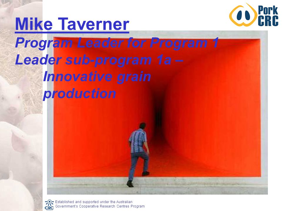 Established and supported under the Australian Government's Cooperative Research Centres Program Mike Taverner Program Leader for Program 1 Leader sub-program 1a – Innovative grain production