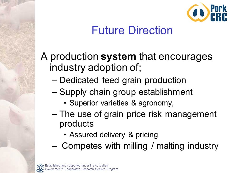 Established and supported under the Australian Government's Cooperative Research Centres Program Future Direction A production system that encourages industry adoption of; –Dedicated feed grain production –Supply chain group establishment Superior varieties & agronomy, –The use of grain price risk management products Assured delivery & pricing – Competes with milling / malting industry