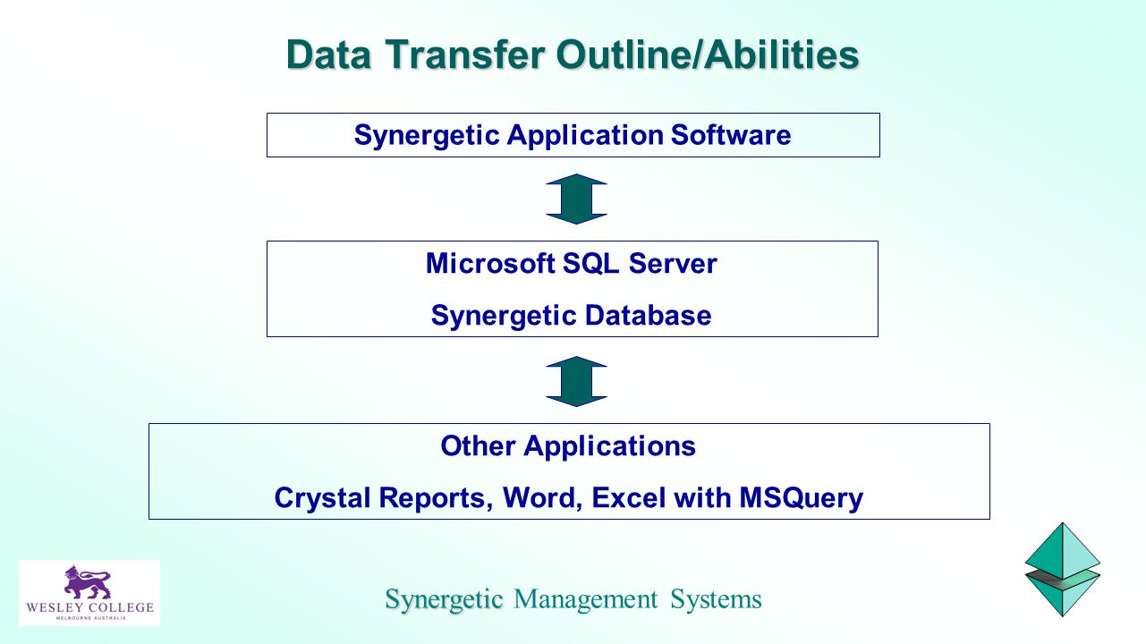 Synergetic Application Software Microsoft SQL Server Synergetic Database Other Applications Crystal Reports, Word, Excel with MSQuery Synergetic Syner
