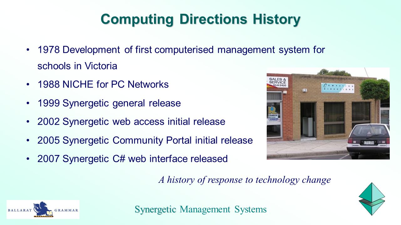 1978 Development of first computerised management system for schools in Victoria 1988 NICHE for PC Networks 1999 Synergetic general release 2002 Syner