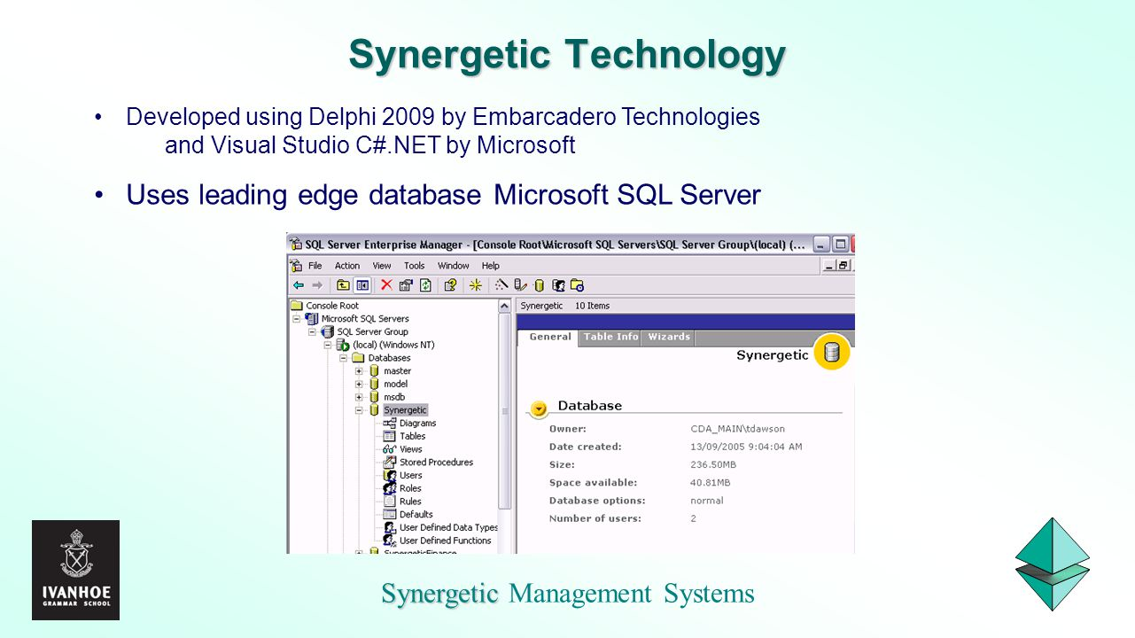Synergetic Synergetic Management Systems Synergetic Technology Developed using Delphi 2009 by Embarcadero Technologies and Visual Studio C#.NET by Mic