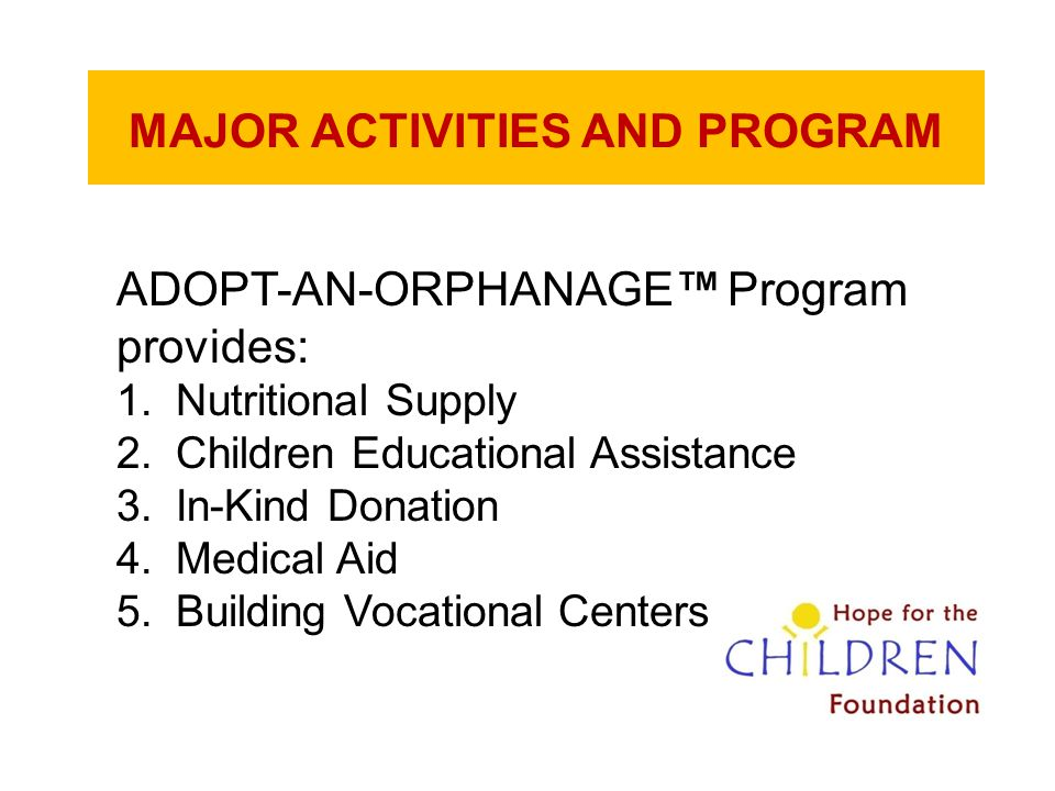 MAJOR ACTIVITIES AND PROGRAM ADOPT-AN-ORPHANAGE™ Program provides: 1.Nutritional Supply 2.Children Educational Assistance 3.In-Kind Donation 4.Medical