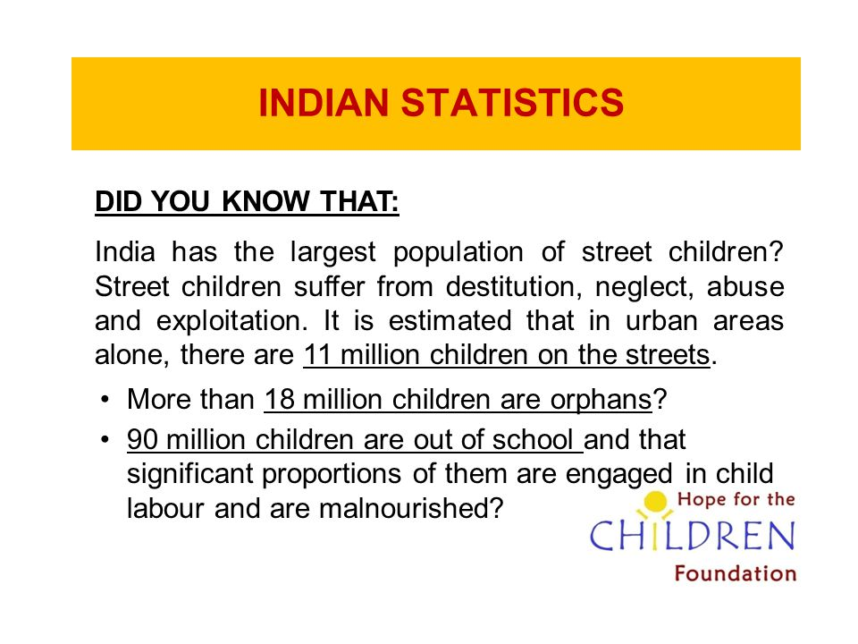 INDIAN STATISTICS DID YOU KNOW THAT: India has the largest population of street children? Street children suffer from destitution, neglect, abuse and