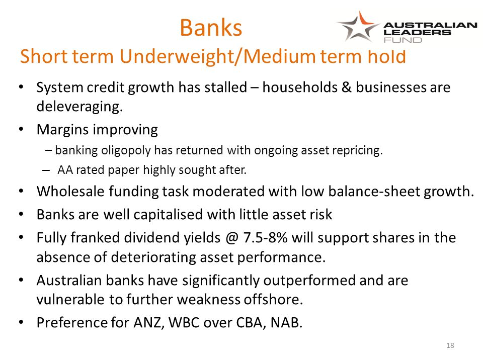 Banks Short term Underweight/Medium term hold System credit growth has stalled – households & businesses are deleveraging.