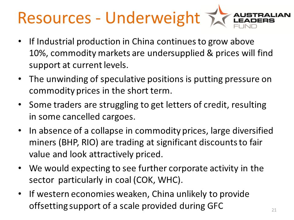 Resources - Underweight If Industrial production in China continues to grow above 10%, commodity markets are undersupplied & prices will find support at current levels.