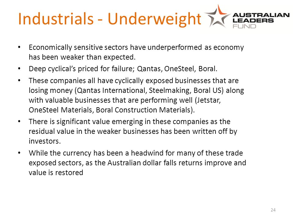 Industrials - Underweight Economically sensitive sectors have underperformed as economy has been weaker than expected.