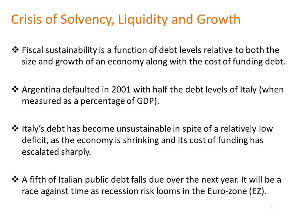 Crisis of Solvency, Liquidity and Growth  Fiscal sustainability is a function of debt levels relative to both the size and growth of an economy along with the cost of funding debt.