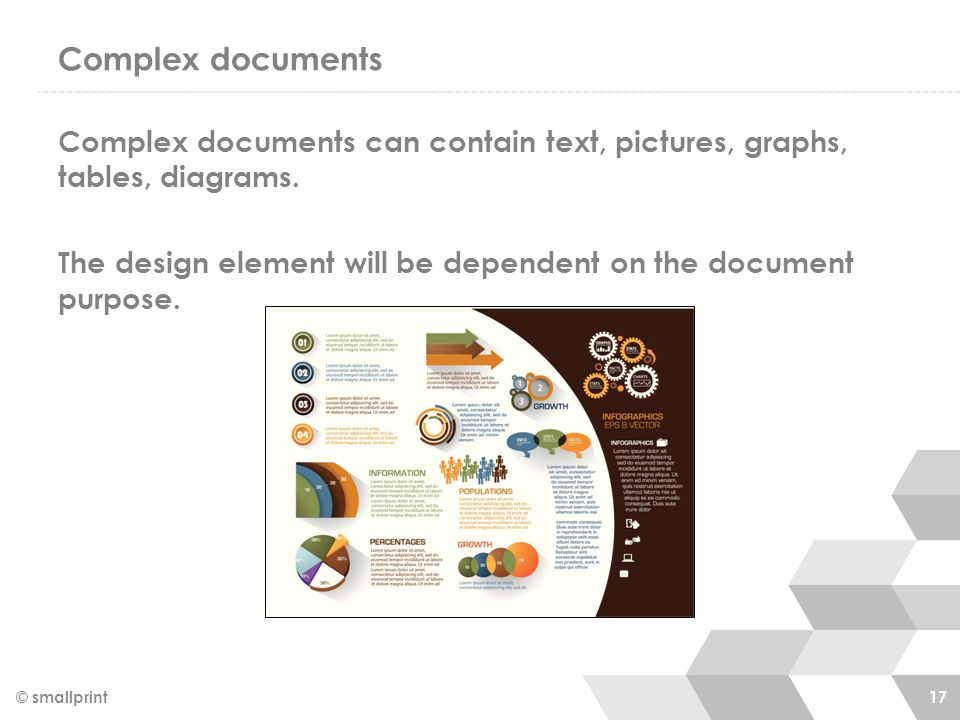 Complex documents © smallprint 17 Complex documents can contain text, pictures, graphs, tables, diagrams.