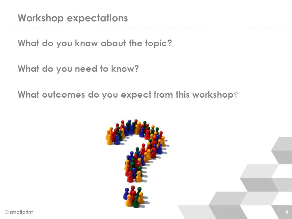 Workshop expectations What do you know about the topic.