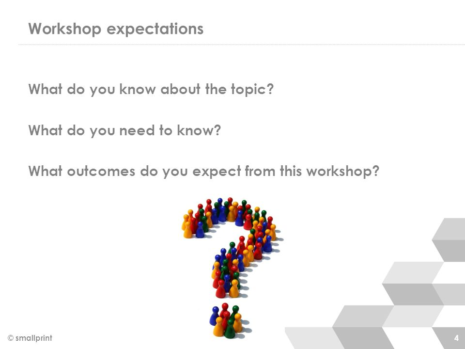 Workshop expectations What do you know about the topic? What do you need to know? What outcomes do you expect from this workshop? © smallprint 4