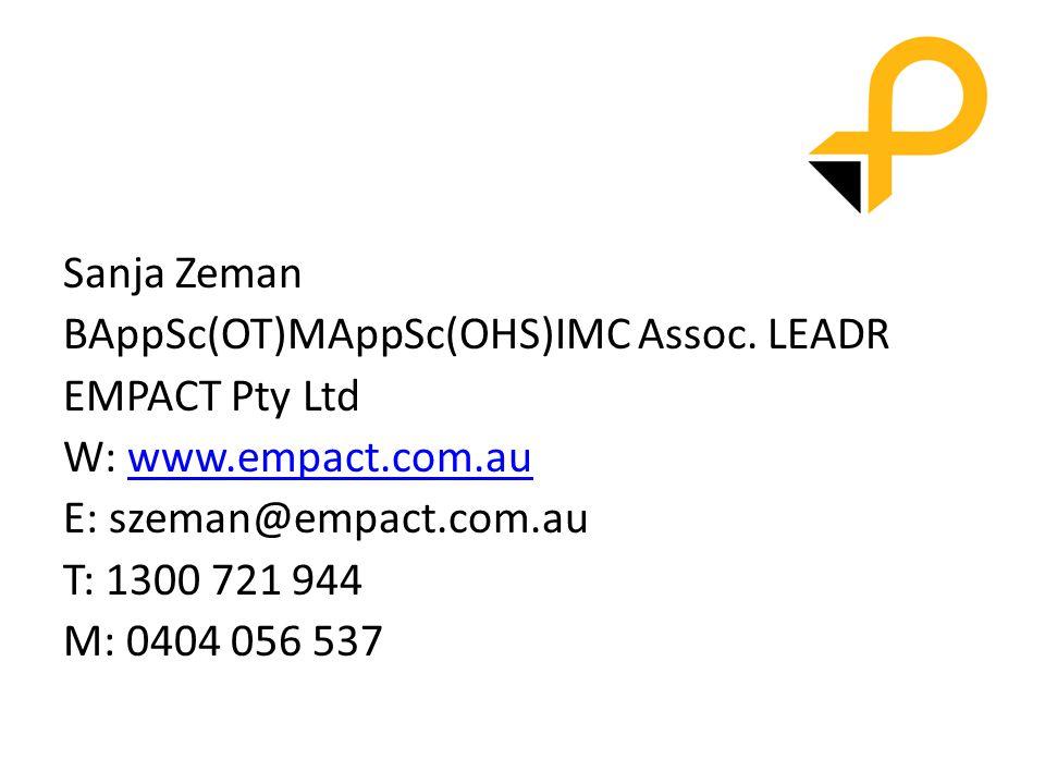 Sanja Zeman BAppSc(OT)MAppSc(OHS)IMC Assoc.