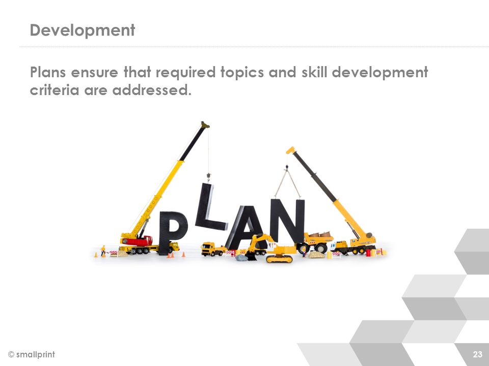 Development © smallprint 23 Plans ensure that required topics and skill development criteria are addressed.