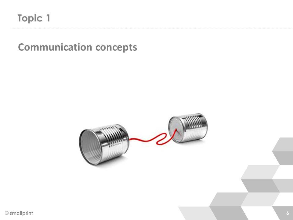 Topic 1 © smallprint 6 Communication concepts