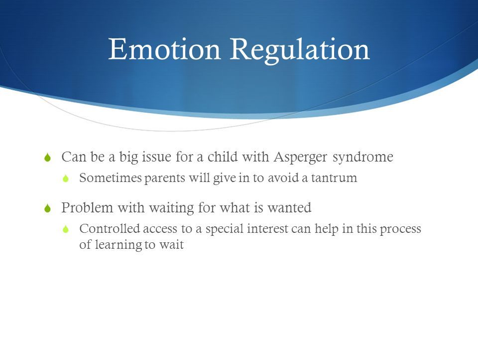 Emotion Regulation  Can be a big issue for a child with Asperger syndrome  Sometimes parents will give in to avoid a tantrum  Problem with waiting for what is wanted  Controlled access to a special interest can help in this process of learning to wait