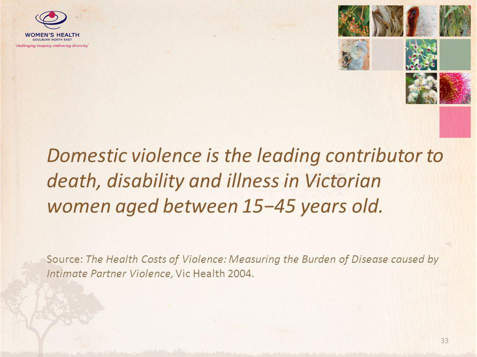 Domestic violence is the leading contributor to death, disability and illness in Victorian women aged between 15−45 years old.