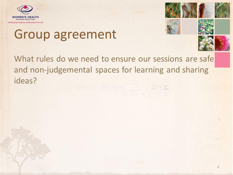 Group agreement What rules do we need to ensure our sessions are safe and non-judgemental spaces for learning and sharing ideas.